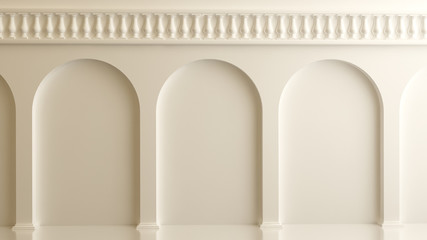 White 3d architectural background with arches and columns
