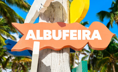 Albufeira signpost with palm trees