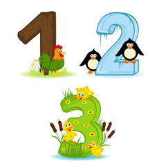 set of numbers with number of animals from 1 to 3- vector illustration, eps