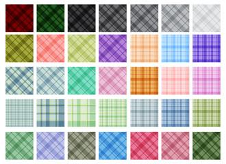 Vector color plaid patterns set
