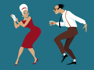 Wall Mural - EPS 8 vector illustration of a couple dressed in 1960s fashion dancing and mixing cocktails, no transparencies