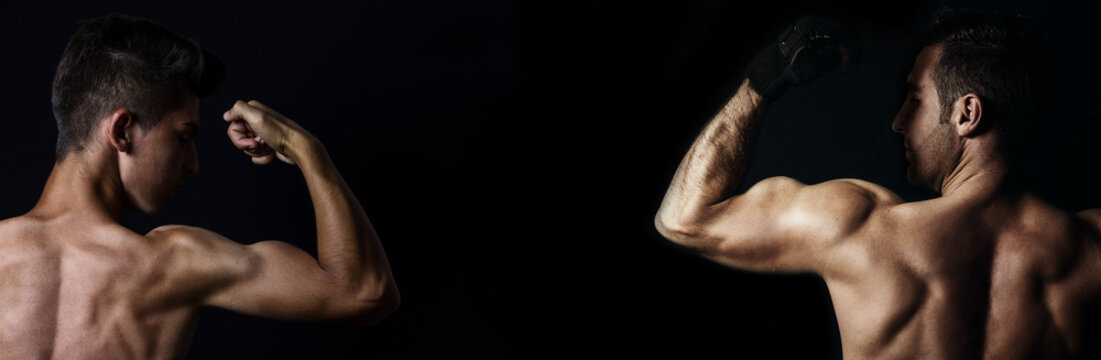 view of muscular men lifting biceps in front black background