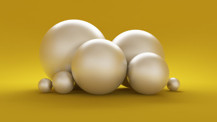 Yellow 3d background with white balls