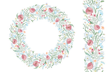 Seamless pattern brush with stylized bright summer flowers. Endless floral hand drawing texture. Wild flowers - lily, daisy, poppy and others. Flowers wreath. Circle frame.
