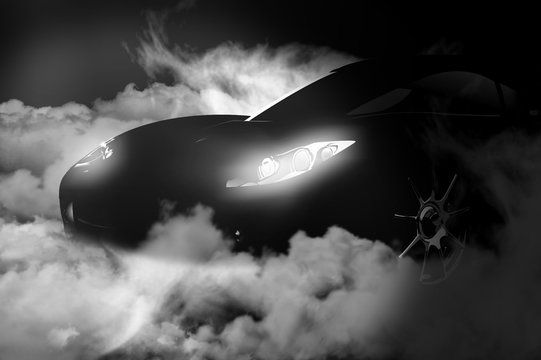 isolated black car with smoke