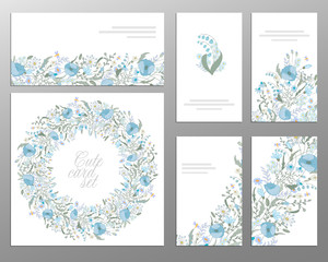 set of vector floral designs: business cards, seamless pattern, beautiful illustration frame. Cute hand drawing flowers on card