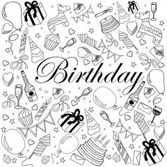 Birthday coloring book vector illustration