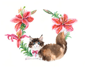 Kitten with lilies. Cat in flower circle. Kittens background, watercolor composition. Flower backdrop. Decoration with cat & flowers, hand-drawing. Bouquet of  lilies, illustration