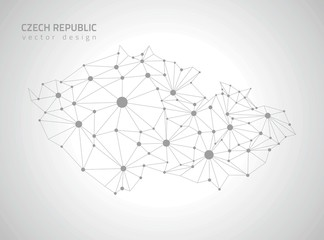 Czech Republic grey vector polygonal map