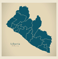 Modern Map - Liberia with counties LR