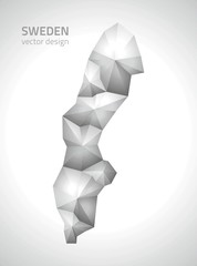 Sweden vector grey polygonal map