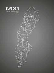 Sweden vector contour black and grey map