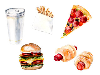 Fast food. Hamburger, cheeseburger, pizza, hotdog, sausage roll, french fries, cola, drink.  Food backdrop. Watercolor hand drawn illustration.