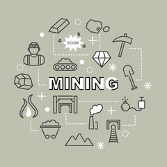 mining minimal outline icons