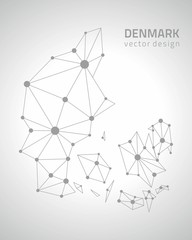 Denmark grey vector outline map