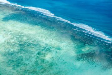 vue aérienne du lagon de l'île Rodrigues