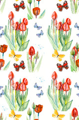 Seamless butterflies and flowers. Pattern with tulips. Watercolor hand drawn painting. Illustration. Russian butterflies.