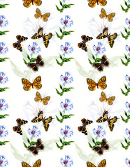 Seamless butterflies and flowers. Pattern with butterflies. Water color painting. Illustration. Russian butterflies.