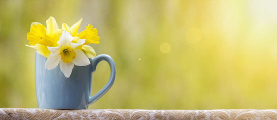 Banner of spring flowers with copy space