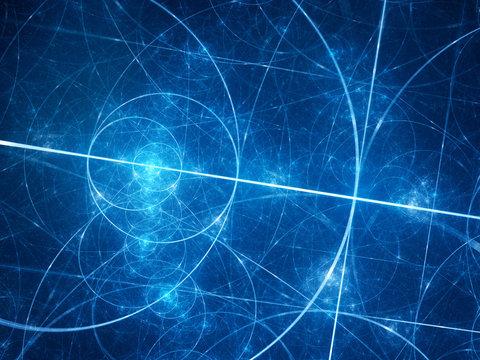 Blue glowing fibonacci circles in space