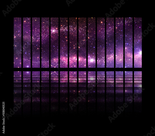 Fantastic space background with windows and follow the spaceship