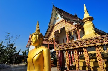 Wat Ma ha That beautiful temple at Vang Vieng, Vientiane province, Laos.