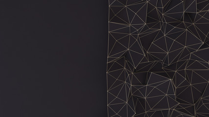 Black abstract 3d background with structure and triangles