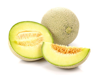 Melon , Melon slices on white background.