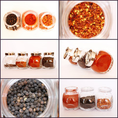 Spices in Glass Jars Collage