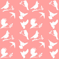 Vector Collection of Bird Silhouettes on a pink background