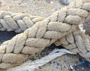 The close view of rope on the ship deck