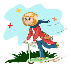 vector image of the girl on the scooter