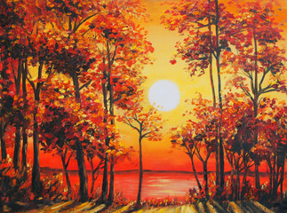 Art Oil Painting Picture Autumn forest near the lake on sunset