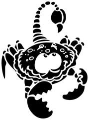 Sternzeichen, schwarz-weiss, Skorpion, mit Stachel und grossen Augen