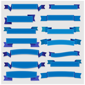 Cute blue ribbons and banners vector