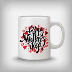 Happy Mothers day greeting card, hearts, lettering. Mug mock up.