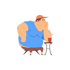 Fat Guy Sitting at The Coffee Table