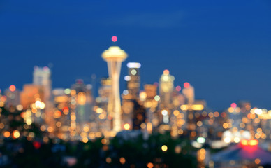 Fotomurales - Seattle city skyline night