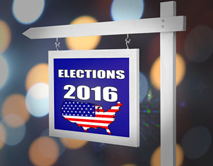 Text Elections 2016 on pointer on bright festive background