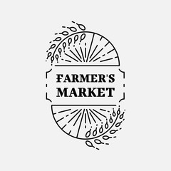 Farmer's Market logo line art Wheat field, Agriculture and organic farm line icon, Vector logotype template, Isolated and easy to edit business identity element