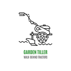 Logo soil cultivation tillage Cultivator agriculture machinery in modern line art style. Logo for the stores sell cultivators, tillers and walk-behind tractors. Vector illustration