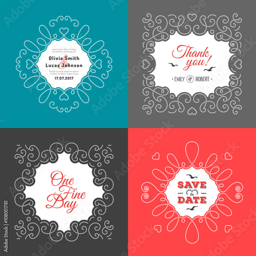 Invitation Card Set Wedding Design Template Postcards