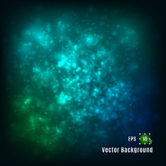 Vector illustration of abstract light background. Space starry sky cloud portal astrology galaxy heaven fantasy planetarium cosmos universe. Colourful design: green blue yellow turquoise