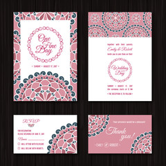 Wedding Invitations Sets: Save the date and RSVP cards. Elegant, pastel pink and turquoise colour palette for wedding