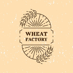 Wheat factory: logo concept in trendy mono line style. Vector logotype template. Isolated and easy to edit business identity element. Agriculture, organic farm or beer and brewing line logo