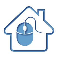 Logo maison et ordinateur.