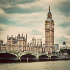 Wall Mural - Big Ben, Westminster Bridge on River Thames in London, the UK. Vintage