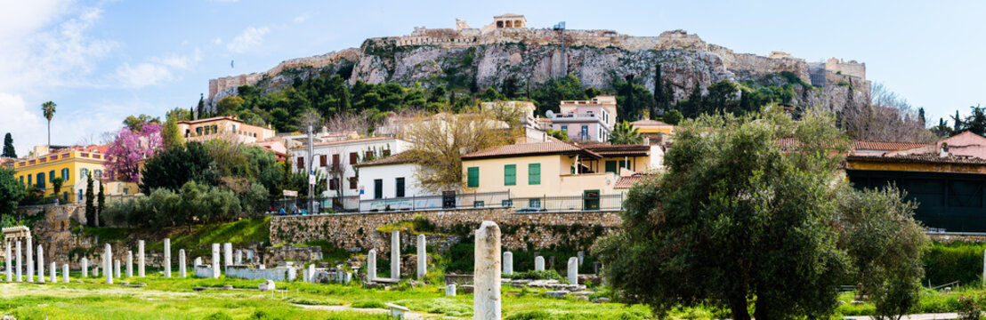 Panoramic view of Acropolis from the Ancient Agora of Athens