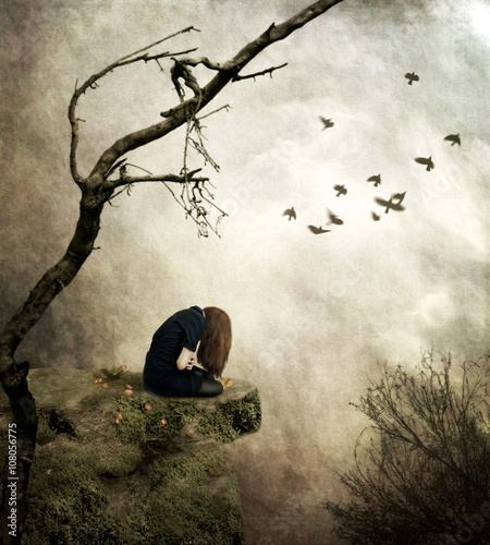 Sad Girl Sitting On A Cliff Onedigital Artemotional Stock Photo Extraordinary Sad Emotional Pics