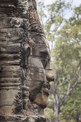Serenity stone carved face in Bayon temple, Angkor Thom, Cambodia